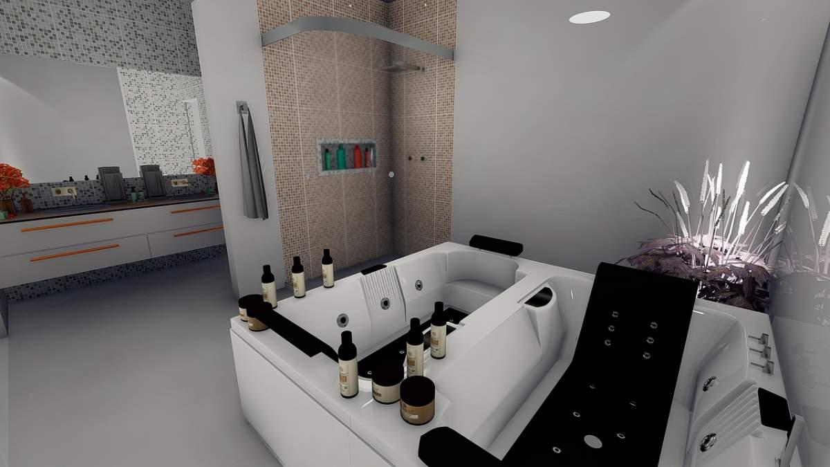 Photo Salle Bain Moderne installation de jacuzzi pour salle de bain moderne avec